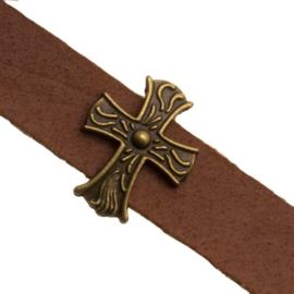 3 x Metalen schuifkraal voor leer Kruis Antiek Brons  Ø10x2mm