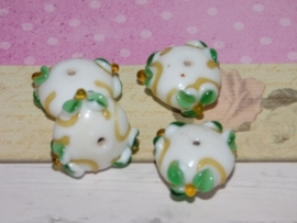 5 x High Quality Glass Hand Made Bead 042 afm. ca. 20 x 10mm