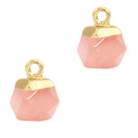 1 x Natuursteen hangers hexagon Blossom pink-gold