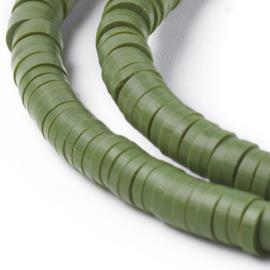c.a. 40 x Katsuki kralen 4mm olive drab gat: 1mm