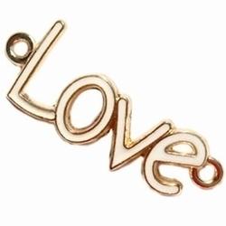 Per stuk Metalen bedel Love met 2 ogen Goud met Wit 40 mm