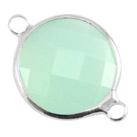 Crystal glas tussenstukken rond 16mm Crysolite green opal-Silver
