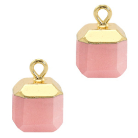 1 x Natuursteen hangers square Blossom pink-gold  Jade