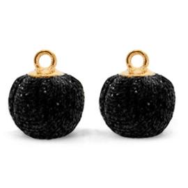 Nieuw! Pompom bedels met oog glitter 12mm Black-gold
