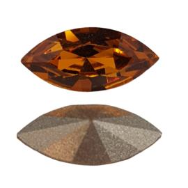 4 x Amber swarovski puntsteen; 15 mm x 7 mm