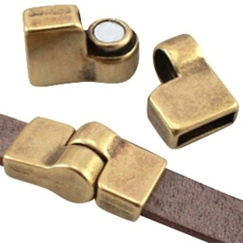 DQ metaal magneetslot scharnier Ø 10mm plat  Antiek brons (nikkelvrij)