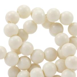 10 x 6mm glaskraal half mat Ivory mist beige