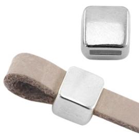DQ metaal schuiver vierkant Ø5.2x4.2mm Antiek Zilver nikkelvrij