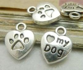"""10 stuks Tibetaans zilveren """"love my dog"""" 13 x 10 x 3mm zilver oogje: 2mm"""