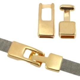 1x DQ metaal haaksluiting (voor 5mm plat leer) Goud