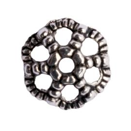 10 x kralenkapje zilver kleur 9,5 x 4mm gat: 1,5mm