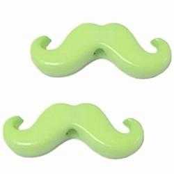 10 Stuks Kunststof kraal moustache snor  Licht-Lime 20 x 8 mm