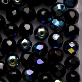 15  x ronde Tsjechië  kraal kristal facet 7mm kleur: ab zwart gat: 1mm