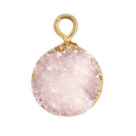 1 x  Natuursteen hangers crystal quartz 10mm Icy pink-gold
