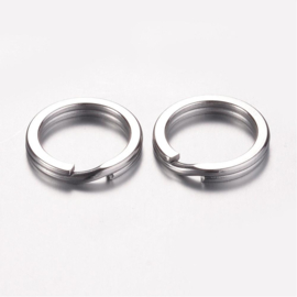 2 x sleutelhanger ring RVS Ø 15 x 2mm