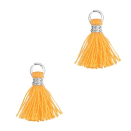 3 x Kwastjes 1cm Zilver-Fire orange