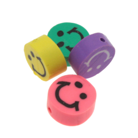 10 x Letterkralen van acryl smiley mix ca. 8 x 8 x 3mm