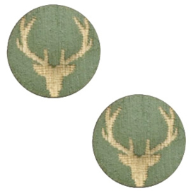 1 x Houten cabochon reindeer 12mm Dark green