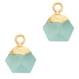 1 x Natuursteen hangers hexagon Icy morn blue-gold Jade