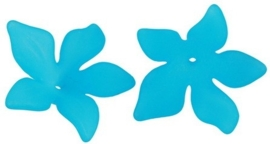 10 x Prachtige acryl bloem kelk 29 x 27 x 8mm Gat 2mm deep sky blue