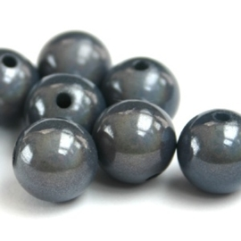 20 stuks Miracle/3-D kraal rond 6 mm gat: c.a. 1,5mm grijs