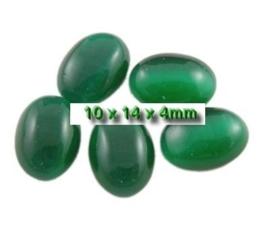 5 x Plaksteen glas cate-eye ovaal 10 x 14 mm groen