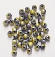 20 stuks miracle/3-D kraal rond geel/antraciet 4 mm gat 1mm