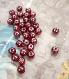 80x prachtige glasparels 6mm Gat: 1mm bruin/rood