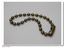 10 x Ball chain ketting met sluiting 2mm x 10,5cm incl. sluiting geel koper kleur