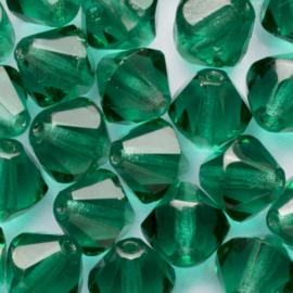 15 x Bicone Tsjechië  Kristal 9 mm Kleur: blauw groen  gat c.a.: 2 mm