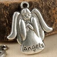 4 x DQ engel bedel Tibetaans Zilver  23 x 20mm oogje c.a. 1,5mm