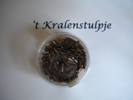 Pracht - glasstiften buisjes met zilverinslag 6mm 10 gram brons