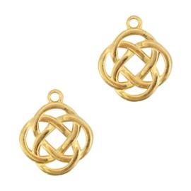 1 x Bedels DQ metaal Keltisch symbool 2 infinity Goud ca. 23x20mm (Ø1.9mm)