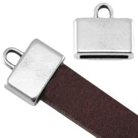 DQ metaal eindkapje vierkant (voor 5/10mm plat leer/aztec) Antiek zilver ca. 13x12mm (Ø10x2mm)