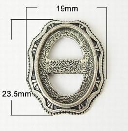 2 x prachtige Tibetaans zilveren gesp c.a. 19mm x 23,5mm x 3mm Gat: 13 x 18mm