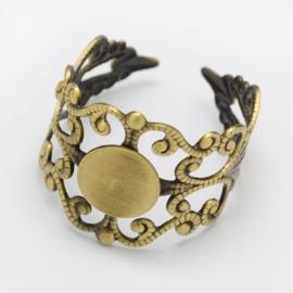 Prachtige verstelbare basis ring, diameter c.a 17mm diameter tray 8mm  kleur geel koper A