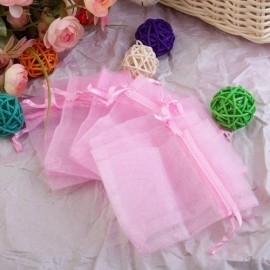c.a. 100 stuks mini organza zakjes 5 x 7 cm  roze