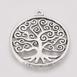 5 x Tibetaans zilveren tree of life bedeltje van een boom  37x 33x 2mm  oogje: 2mm antique zilver
