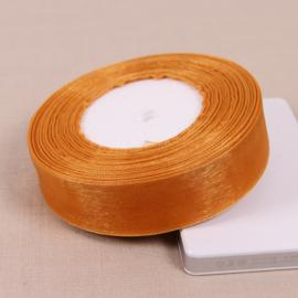 1 meter geschenkband-lint 40mm bruin oranje