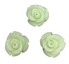5x Roosjes kralen Mint Groen  12 mm Gat: 1 mm