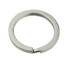 5 stuks metalen sleutelhangerringen 35mm x 2,5mm platinum kleur
