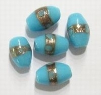 5x Glaskraal India ovaal aqua met goudrand 14 mm