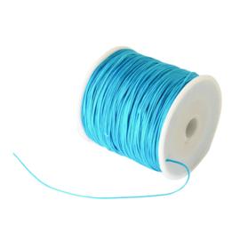 1 rol 90 meter gevlochten nylon koord, imitatie zijden draad 0,8mm deep sky blue