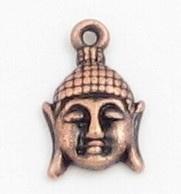 4 x Boeddha hoofdje Roodkoper 19x12mm gat: 2mm