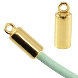1x DQ metaal eindkap voor 3mm leer/draad Goud 16×6 mm Ø 3.0 mm