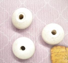 10x Witte houten kraal met grijs effect plat rond 20 x 12mm gat: 3mm