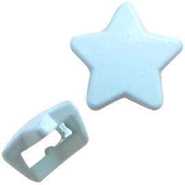 Per stuk Chill metalen schuiver ster light blue  10mm