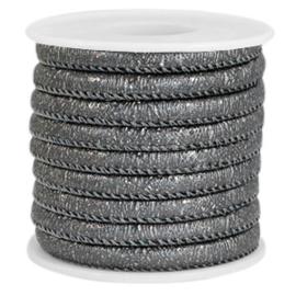 1 rol met 4 meter gestikt imitatie leer 6x4mm sparkle Anthracite grey metallic (kies voor pakketpost)