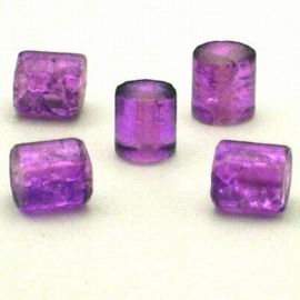 30 stuks crackle glas kralen cilinder vorm 7 x 8mm paars
