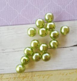 Nieuw! 15 x transparante DQ glasparel 10mm kleur: Olive